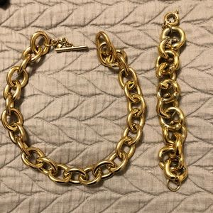 Gold bracelet and necklace combo from JCrew